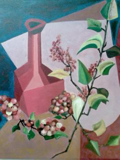 Red Vase With Plant. Mobile phone photo of pastel version 1998 (Original: Oil on canvas. Circa 1954 by S. Berger). Click the painting to send an e-mail.