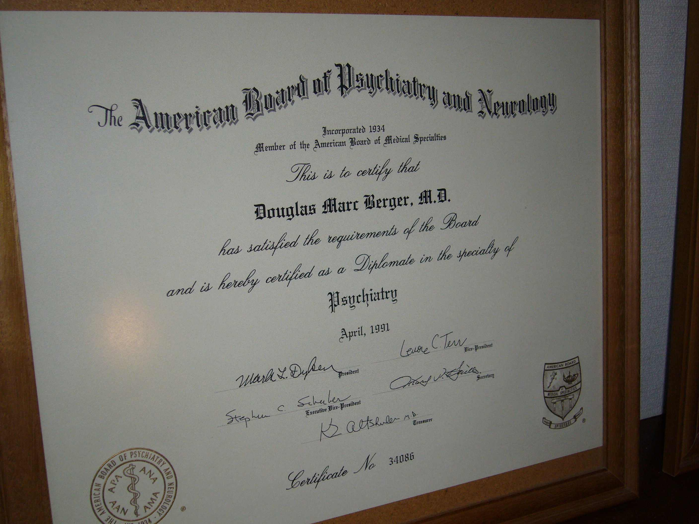 Doug berger tokyo psychiatrist diploma photos dr bergers medical school diploma psychiatry residency graduation certificate psychiatry board certification 1betcityfo Images