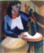 Woman With Vase. Computer scan of photo (original: Oil on canvas. Circa 1950 by S. Berger). Click to jump to Picture Gallery.